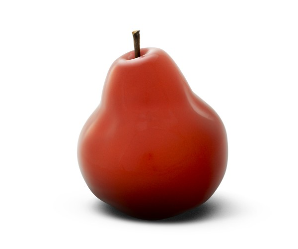 pear - sculpture - red - ceramic - indoor