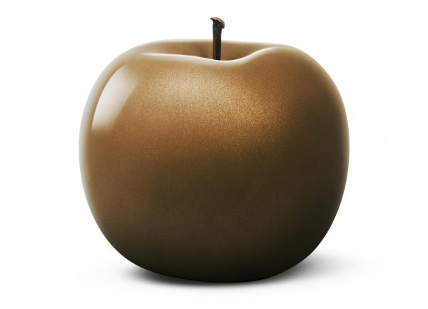 apple - sculpture - bronze metallic - fibre-resin - outdoor frostproof