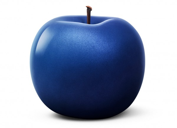 apple - sculpture plus - blue metallic - ceramic - outdoor non frostproof