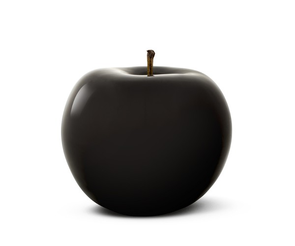 apple - sculpture - black - ceramic - outdoor non frostproof