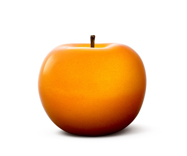 apple - sculpture - orange - ceramic - indoor