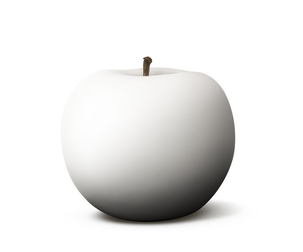 apple - sculpture - white velvet matte - ceramic - indoor