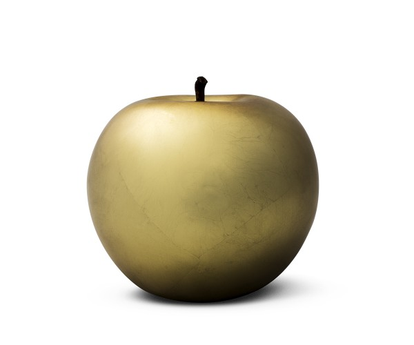 apple - sculpture - gold plated - fibre-resin - indoor