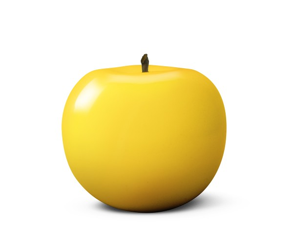 apple - large - yellow - ceramic - outdoor non frostproof