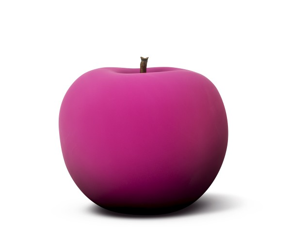 apple - sculpture - hot magenta rosé - fibre-resin - indoor