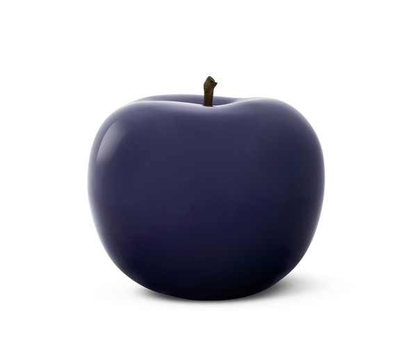 apple - sculpture - royal blue - ceramic - indoor