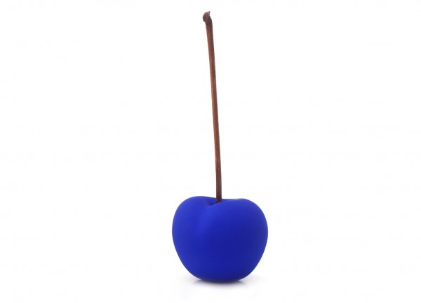 cherry - sculpture - lapis lazuli blue - fibre-resin - indoor