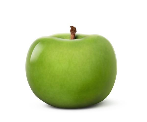 apple - sculpture - green - portuguese faience - indoor