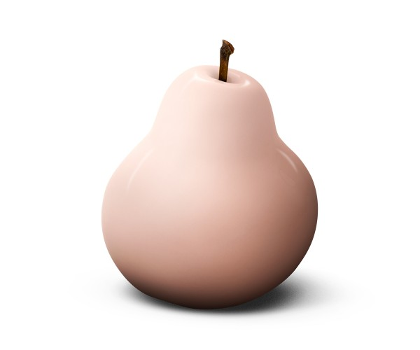 pear - sculpture - pink - ceramic - indoor
